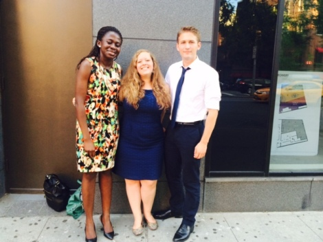 FCNY Scholarship recipients Regina Baiden, Erin Taylor and Gregory Mendoza